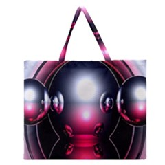 Red 3d  Computer Work Zipper Large Tote Bag