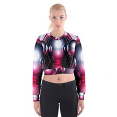 Red 3d  Computer Work Women s Cropped Sweatshirt