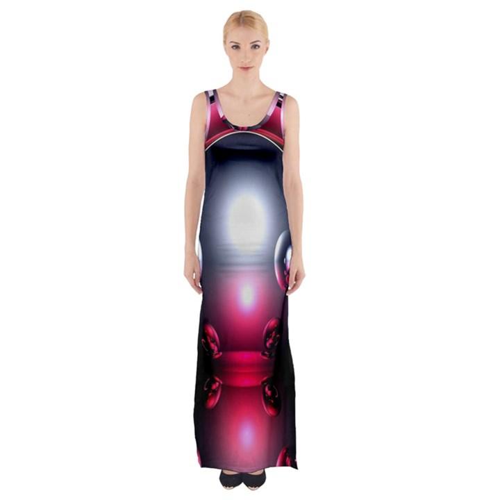 Red 3d  Computer Work Maxi Thigh Split Dress