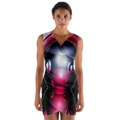 Red 3d  Computer Work Wrap Front Bodycon Dress