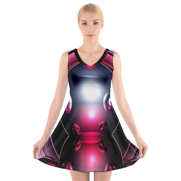 Red 3d  Computer Work V-Neck Sleeveless Skater Dress