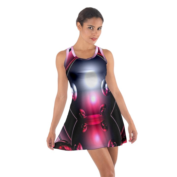 Red 3d  Computer Work Cotton Racerback Dress