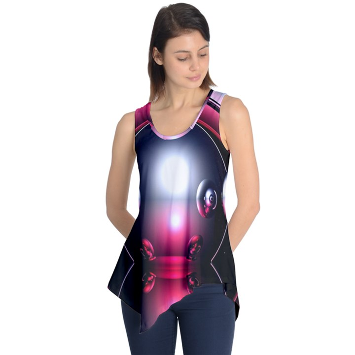 Red 3d  Computer Work Sleeveless Tunic