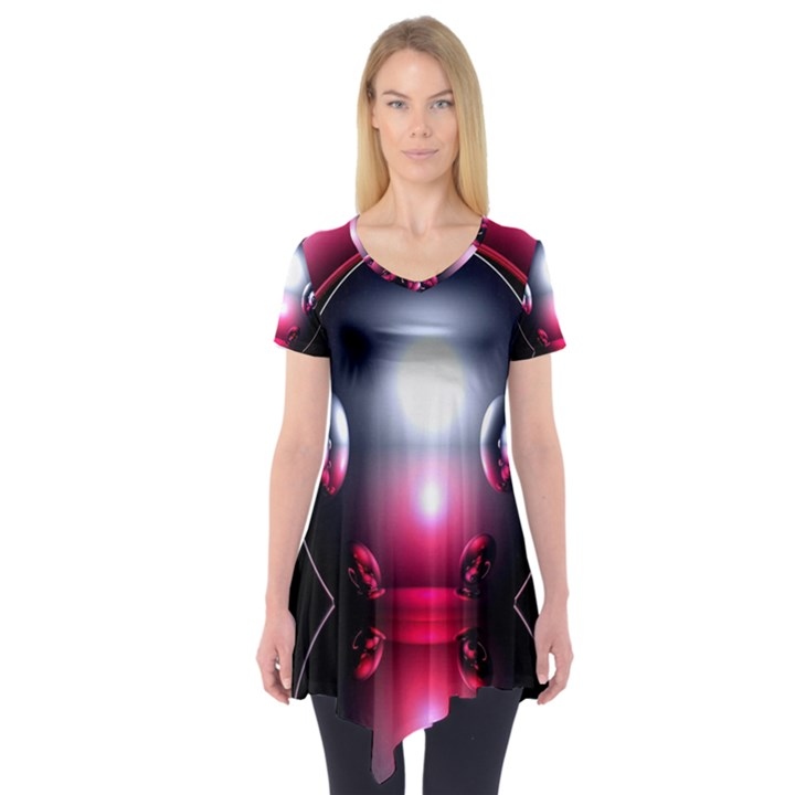 Red 3d  Computer Work Short Sleeve Tunic