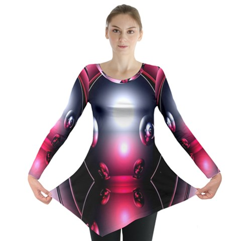 Red 3d  Computer Work Long Sleeve Tunic