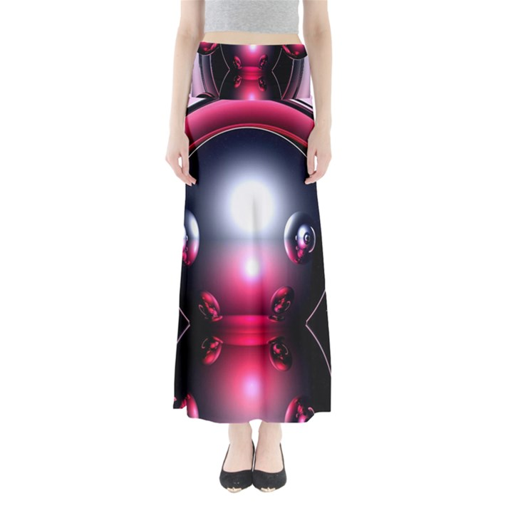 Red 3d  Computer Work Maxi Skirts