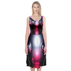 Red 3d  Computer Work Midi Sleeveless Dress