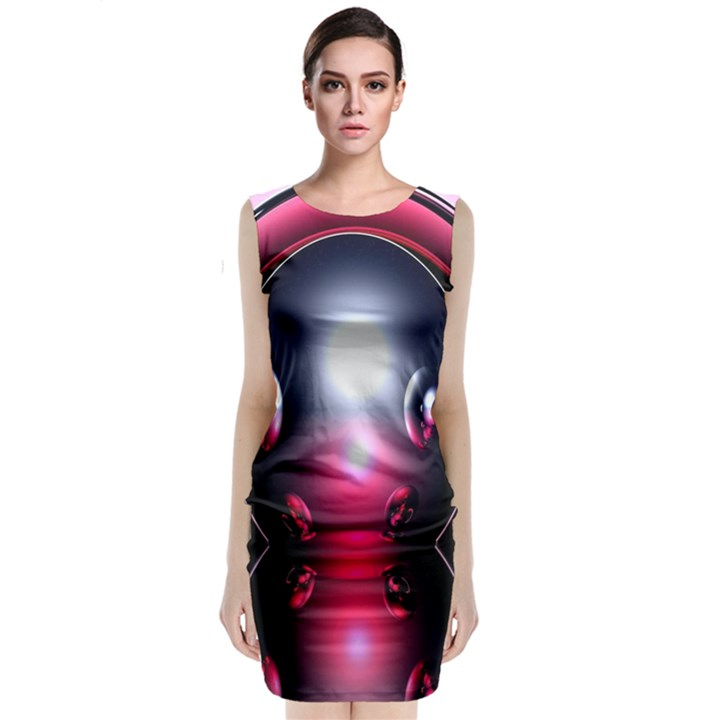 Red 3d  Computer Work Classic Sleeveless Midi Dress