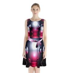 Red 3d  Computer Work Sleeveless Chiffon Waist Tie Dress