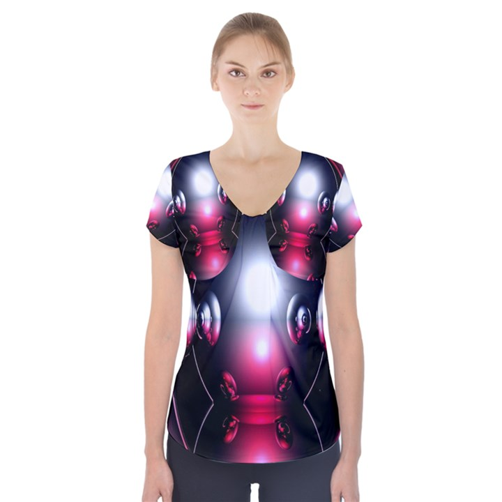 Red 3d  Computer Work Short Sleeve Front Detail Top