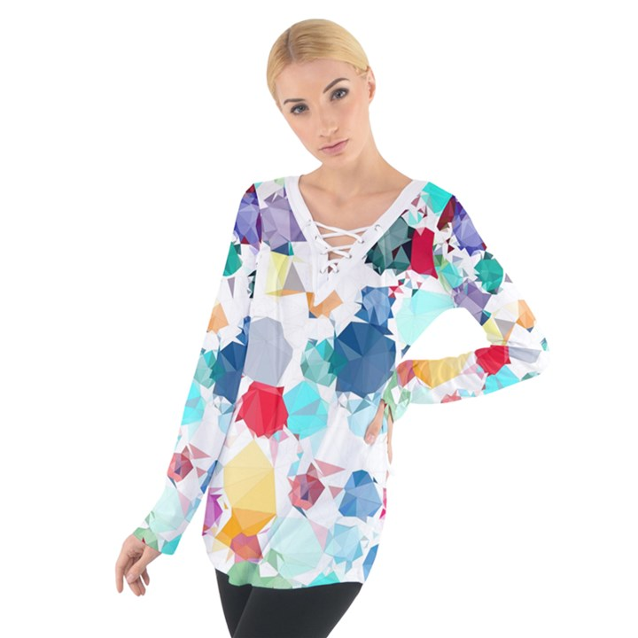 Colorful Diamonds Dream Women s Tie Up Tee