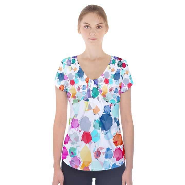 Colorful Diamonds Dream Short Sleeve Front Detail Top