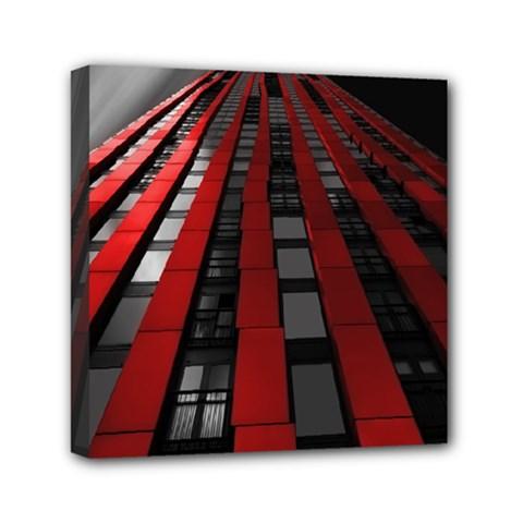 Red Building City Mini Canvas 6  x 6