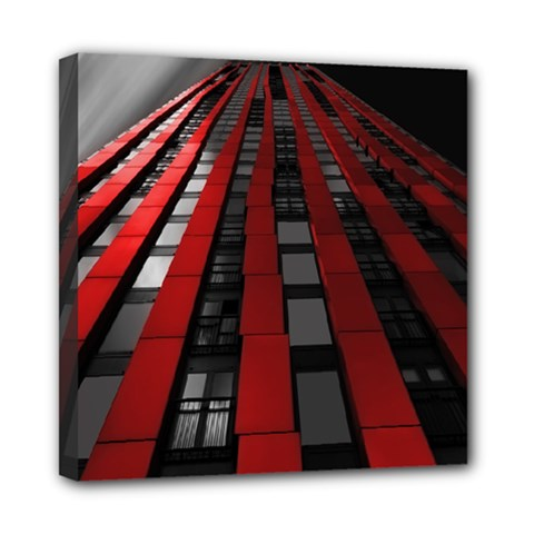 Red Building City Mini Canvas 8  x 8