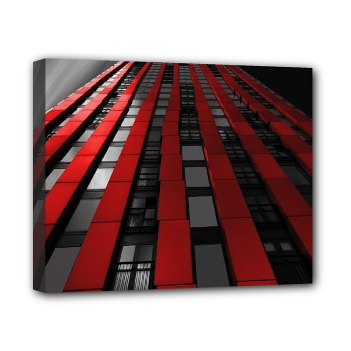 Red Building City Canvas 10  x 8