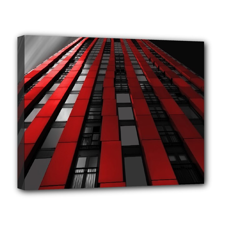 Red Building City Canvas 14  x 11