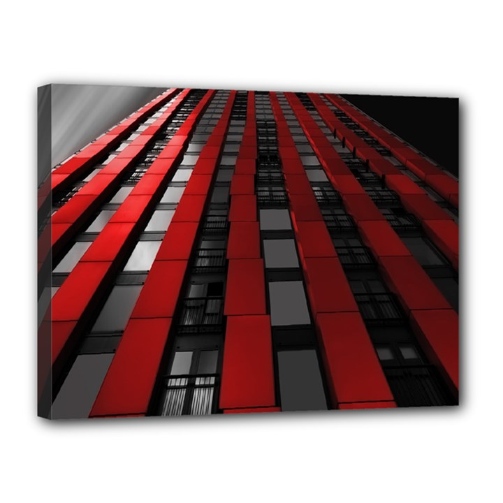 Red Building City Canvas 16  x 12