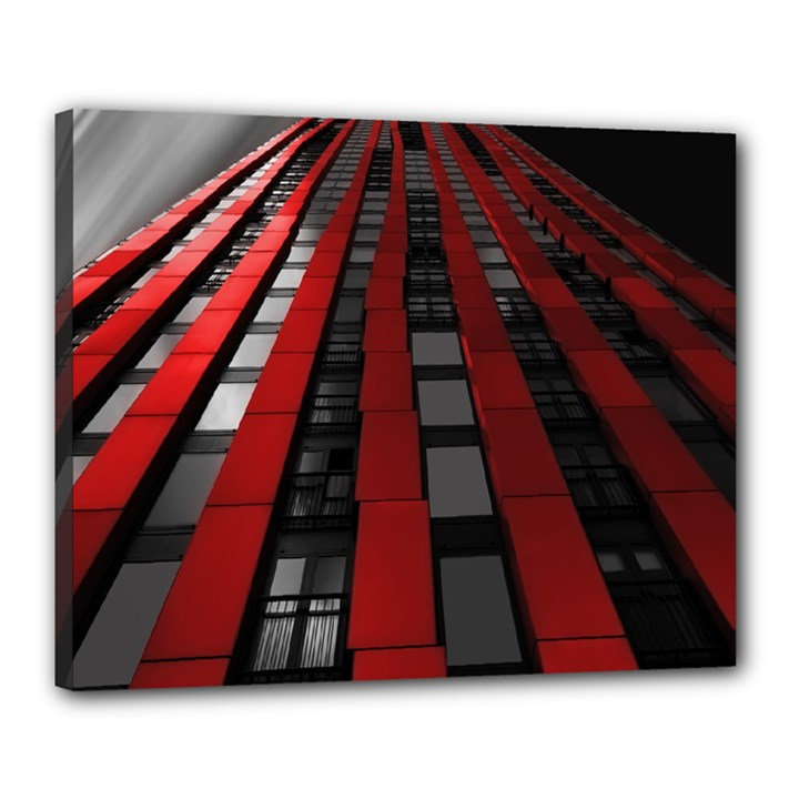 Red Building City Canvas 20  x 16