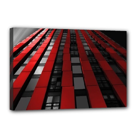 Red Building City Canvas 18  x 12