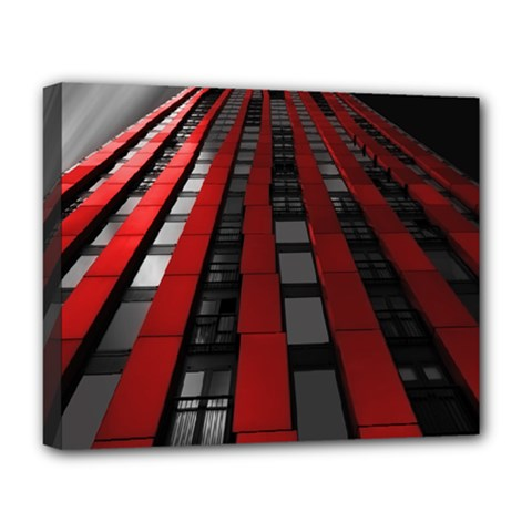 Red Building City Deluxe Canvas 20  x 16