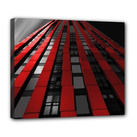 Red Building City Deluxe Canvas 24  x 20