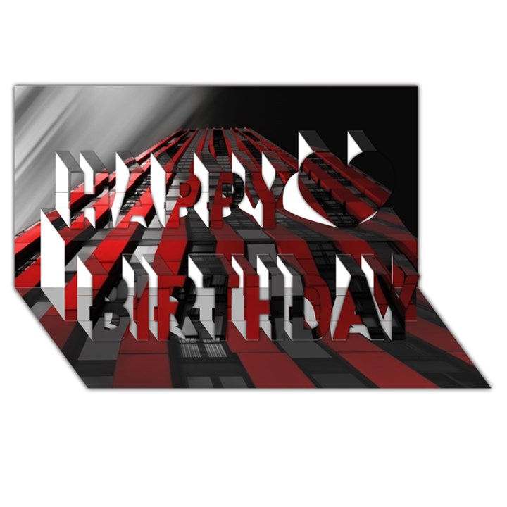 Red Building City Happy Birthday 3D Greeting Card (8x4)