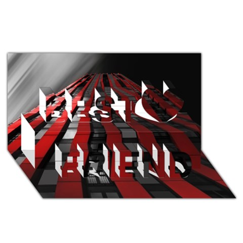 Red Building City Best Friends 3D Greeting Card (8x4)