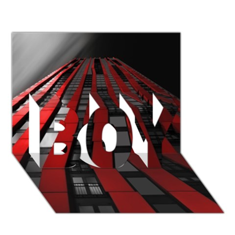 Red Building City BOY 3D Greeting Card (7x5)