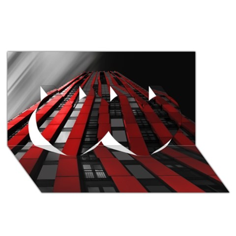 Red Building City Twin Hearts 3D Greeting Card (8x4)