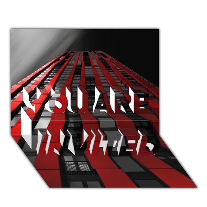 Red Building City YOU ARE INVITED 3D Greeting Card (7x5)