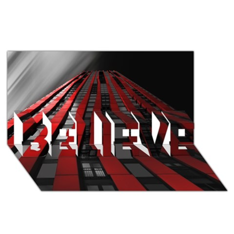 Red Building City BELIEVE 3D Greeting Card (8x4)