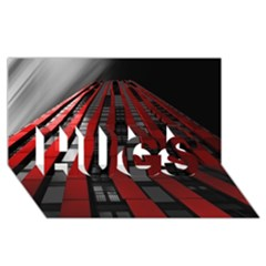 Red Building City HUGS 3D Greeting Card (8x4)