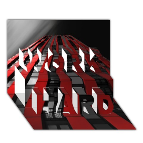 Red Building City WORK HARD 3D Greeting Card (7x5)