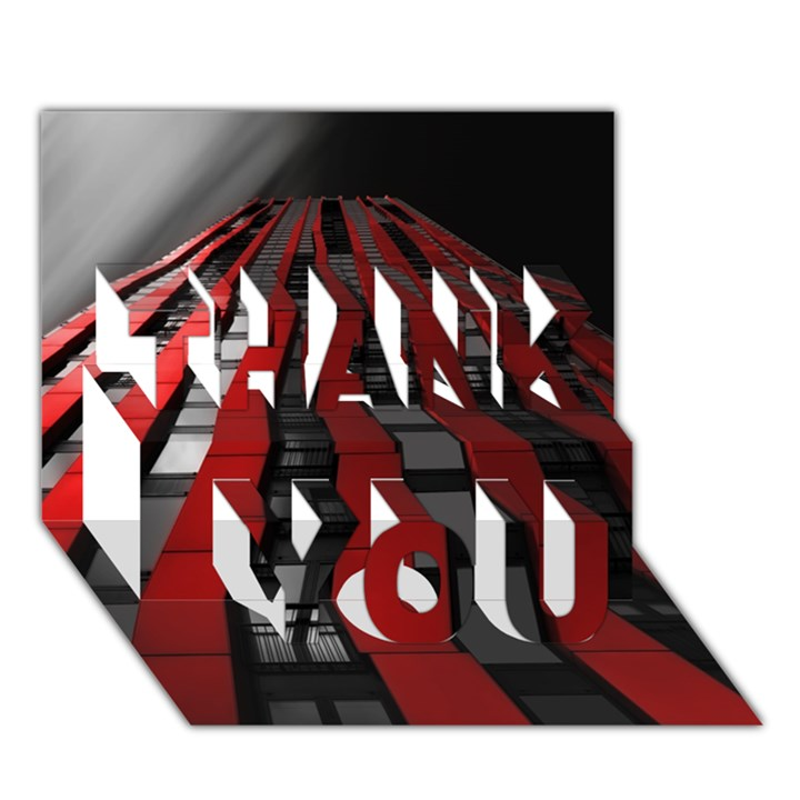 Red Building City THANK YOU 3D Greeting Card (7x5)