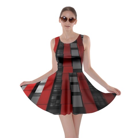 Red Building City Skater Dress