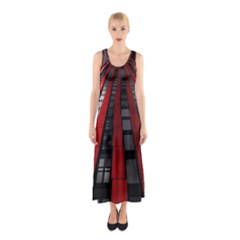 Red Building City Sleeveless Maxi Dress