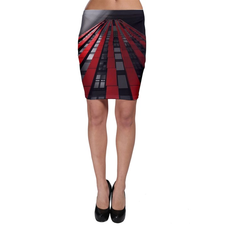 Red Building City Bodycon Skirt