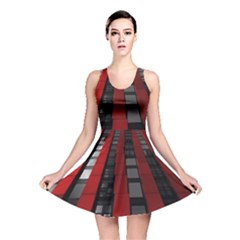 Red Building City Reversible Skater Dress
