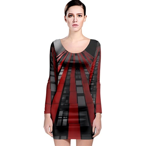 Red Building City Long Sleeve Bodycon Dress