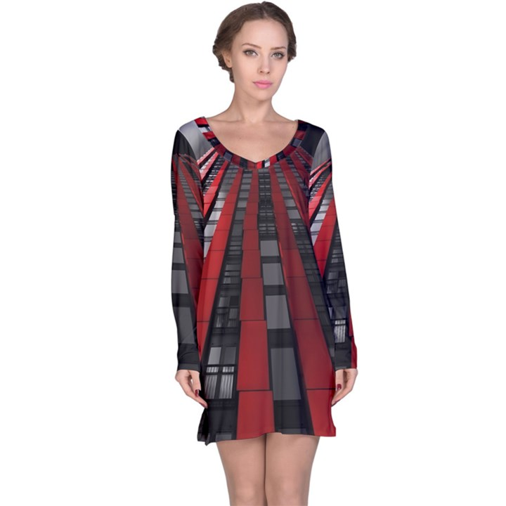 Red Building City Long Sleeve Nightdress
