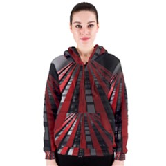Red Building City Women s Zipper Hoodie