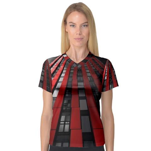 Red Building City Women s V-Neck Sport Mesh Tee