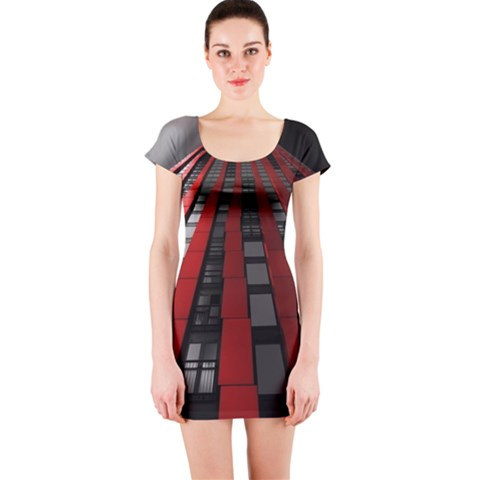 Red Building City Short Sleeve Bodycon Dress