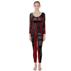 Red Building City Long Sleeve Catsuit
