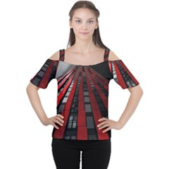Red Building City Women s Cutout Shoulder Tee