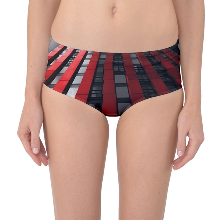 Red Building City Mid-Waist Bikini Bottoms