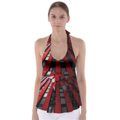 Red Building City Babydoll Tankini Top