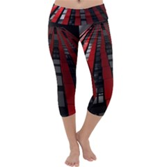 Red Building City Capri Yoga Leggings