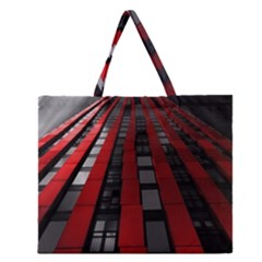 Red Building City Zipper Large Tote Bag