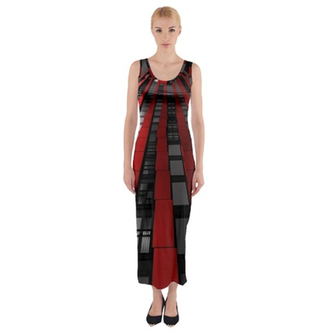 Red Building City Fitted Maxi Dress